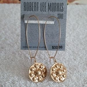 New Robert Lee Morris Shield Linear Drop Earrings
